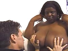 Bombshell black chubby woman takes up cock